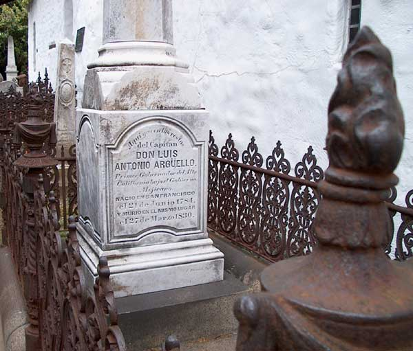 Tombstone for Luis Argüello - Mission Dolores Cemetery - San Francsico