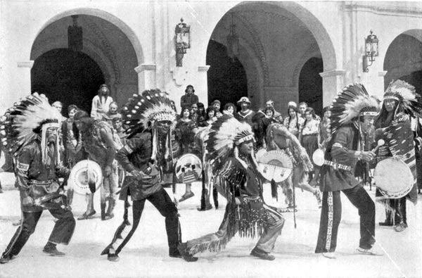 Native Indians in Ceremonial Dance in Mission Play at San Gabriel
